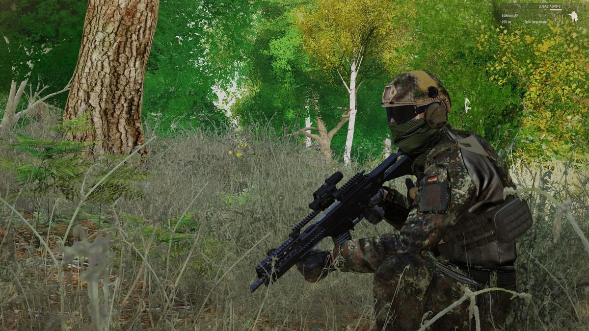Schütze überwacht Vorfeld
